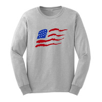 Loo Show Mens American Flag U.S. Patriotic Graphic Long Sleeve Adult T-Shirts Casual Men Tee