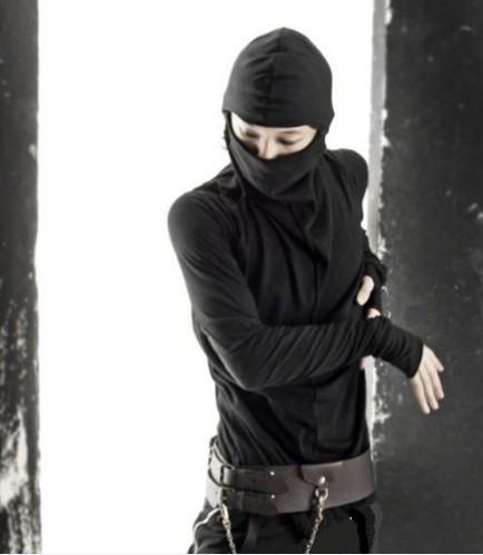 Personality self-cultivation turtleneck fashion leisure pure long sleeved T-shirt Ninja masked mystery man wholesales