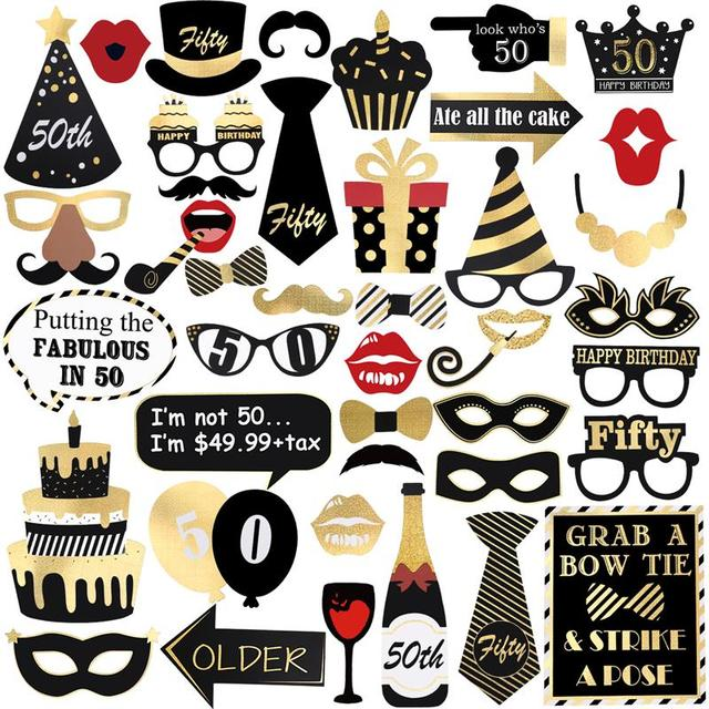 44 Styles Glitter Photo Booth Props Kit For 50th Birthday Party Decoration Eyeglasses Funny Images Favor Supplies