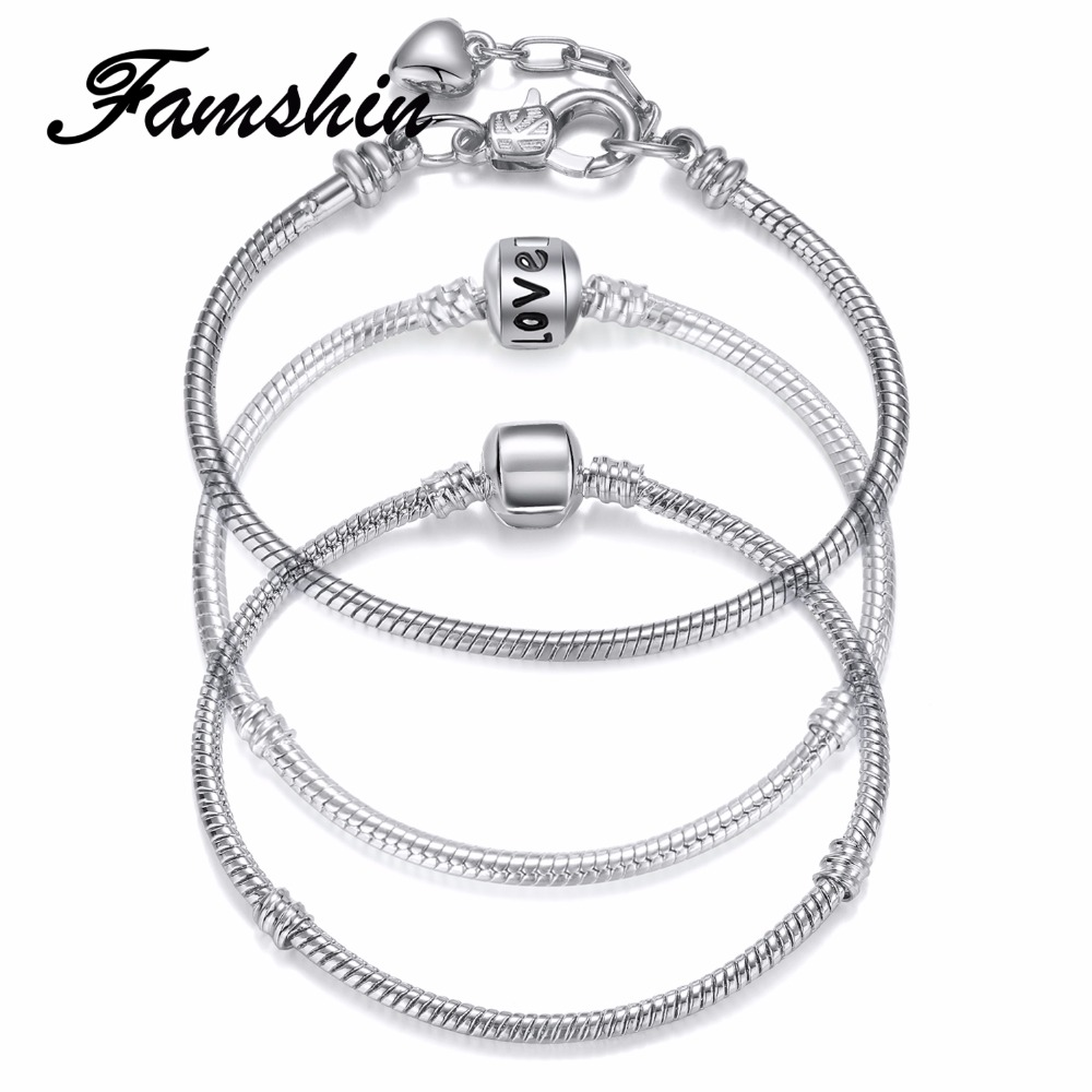 FAMSHIN 2018 Hot LOVE Silver Love Snake Chain Fit Pan Charm Bracelets & Bangles Jewelry Gift For Men Women 18-19cm