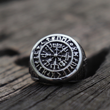 Silver Vegvisir Viking Stainless Steel Ring Futhark Runes Vikings Compass Magic Stave Nordic Amulet Jewelry