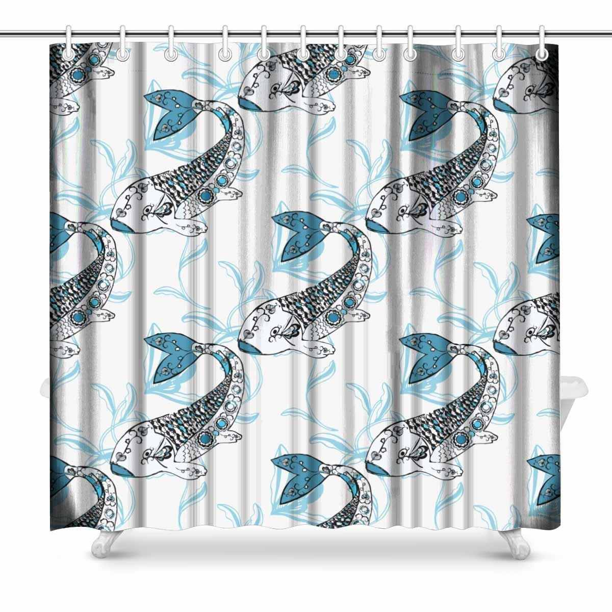 Aplysia Koi Chinese Carp Hand Drown Doodle Pattern Fabric Bathroom Shower Curtain Decor Set with Hooks 72 x 72 Inches