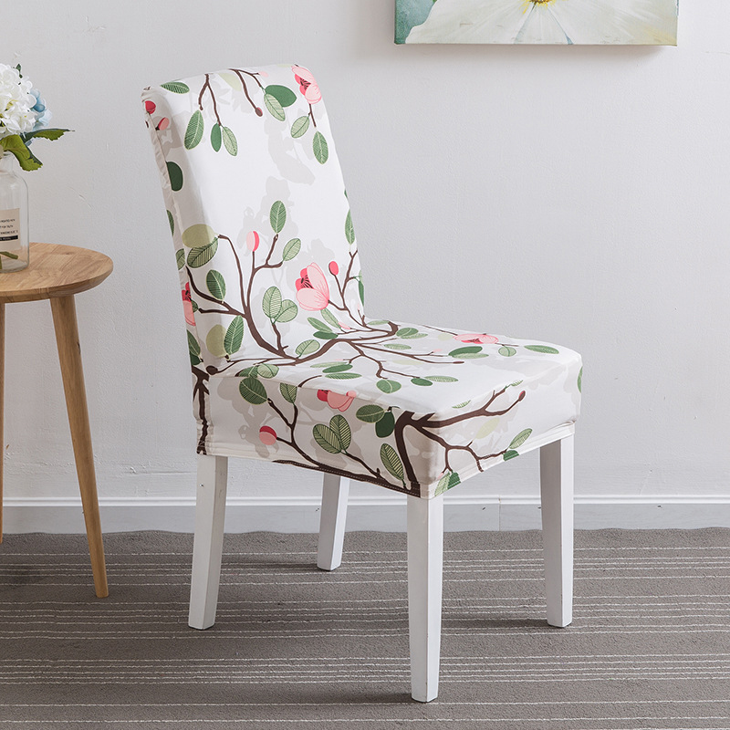 2018New 1 Piece Polyester Chair Cover Hotel Restaurant Printing Elasticity Simple Siamese Cushion Home Seat Back Cover Wholesale