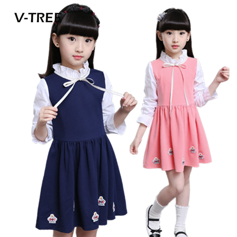2017 Kids Girl Dress Autumn Winter Fashion Baby Girl England Style Long Sleeve Dress Children Clothing Casual Girl Clothes 2017 autumn girl long sleeves dress fashion baby casual kids cotton dress print rainbow 3 8 year old children s clothing lh6010