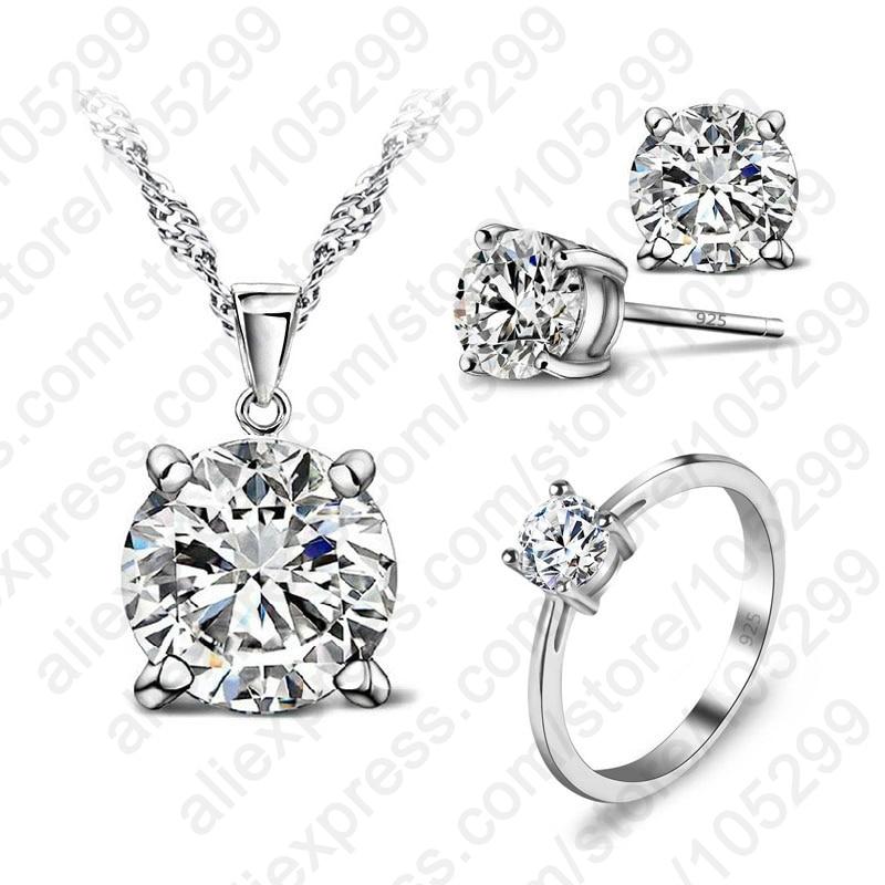 c68e9b89a628 Patico Top calidad 925 plata esterlina claro CZ 4 garra colgante joyería  conjuntos para mujeres nupcial regalos de boda