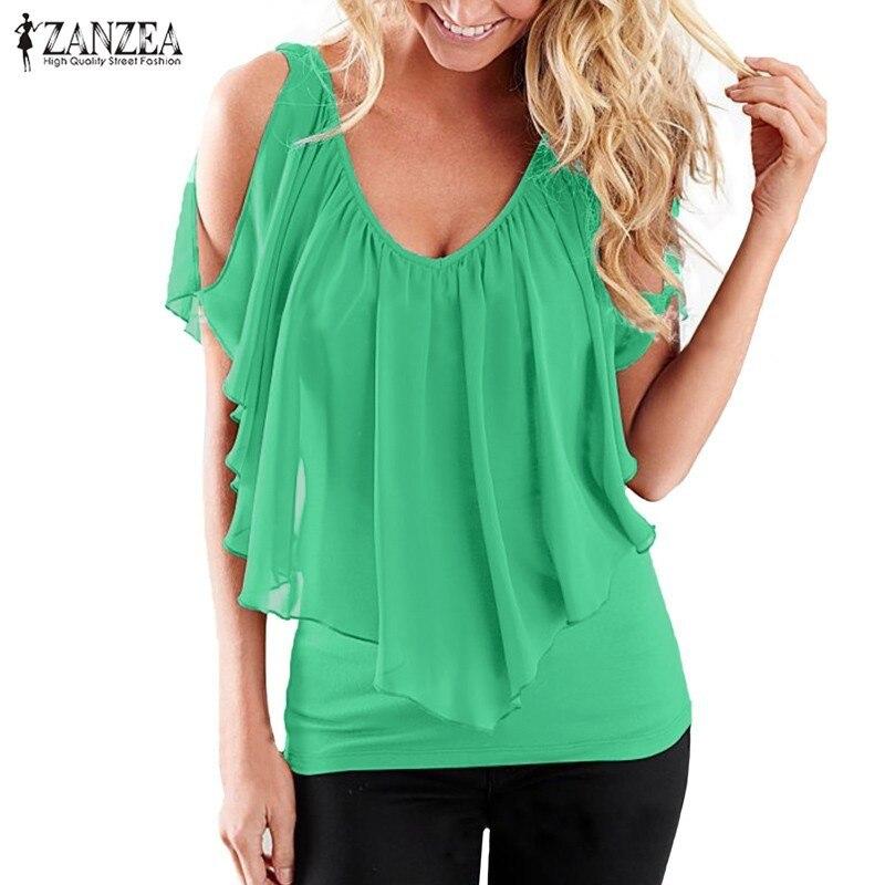 a6fe0fa161 Blusas da moda 2016 Mulheres Verão Blusas Sexy Fora do Ombro V Pescoço  Chiffon Camisas Patchwork Stretchy Sólidos Tops Plus Size S-3XL