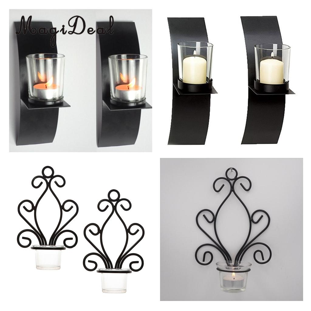 Magideal 4pcs wall mounted candle holder 2 set sconce cup tea light tealight candlestick wall hangings lightings fixture in candle holders from home