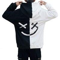 Harajuku Homens Hoodies Camisolas Sorriso Imprimir Com Capuz Hoodie Hip Hop Streetwear Solto Roupa Dos Homens Tamanho EUA S XL Sudadera Hombre Agasalhos e Moletons     -
