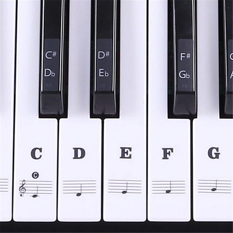 IRIIN Transparent 54 61 88 Keys Electronic Keyboard Key Sticker Piano Stave Note Sticker For White Keys sticker