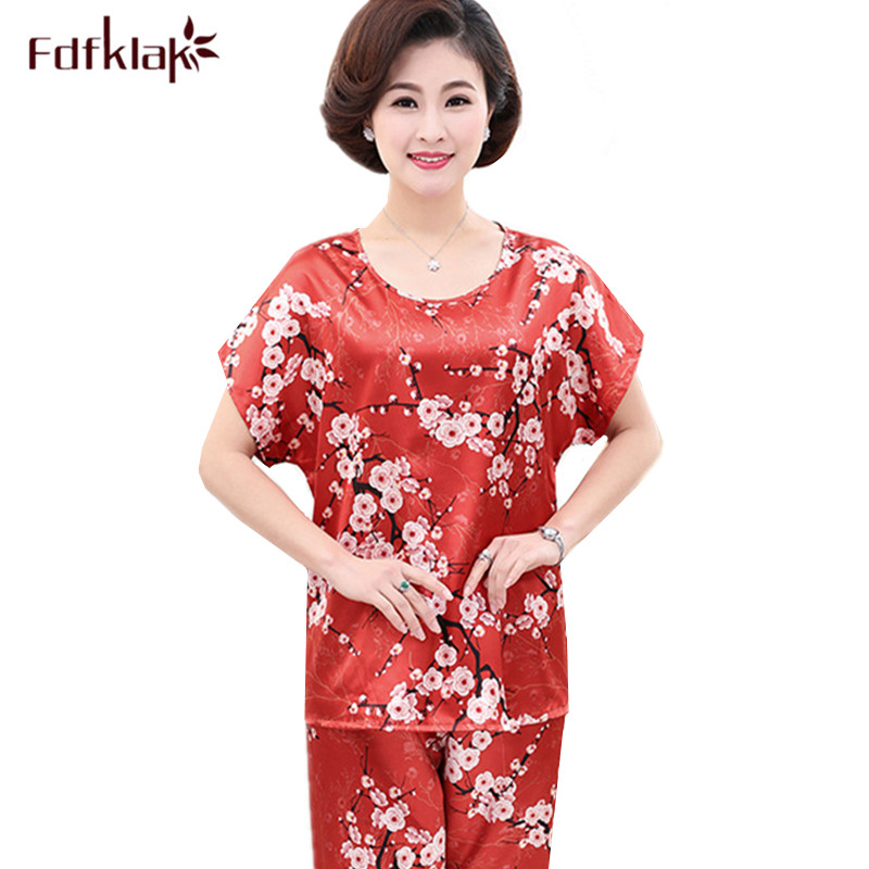 Fdfklak L-5XL plus size pyjamas women silk women's   pajamas     set   short sleeve print ladies sleepwear   sets   homewear pijama mujer