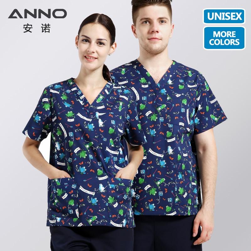 ANNO Medical Scrubs Ženy Muži Krátké rukávy Oblečení Sestra Uniforma Top Pant Cartoon Zubní klinika Oblečení Uniformy Chirurgické šaty