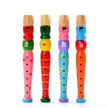Colorful Wooden Trumpet Buglet Hooter Bugle Musical Instrument Educational Toy Gift For Kids Children Funny Piccolo(China)