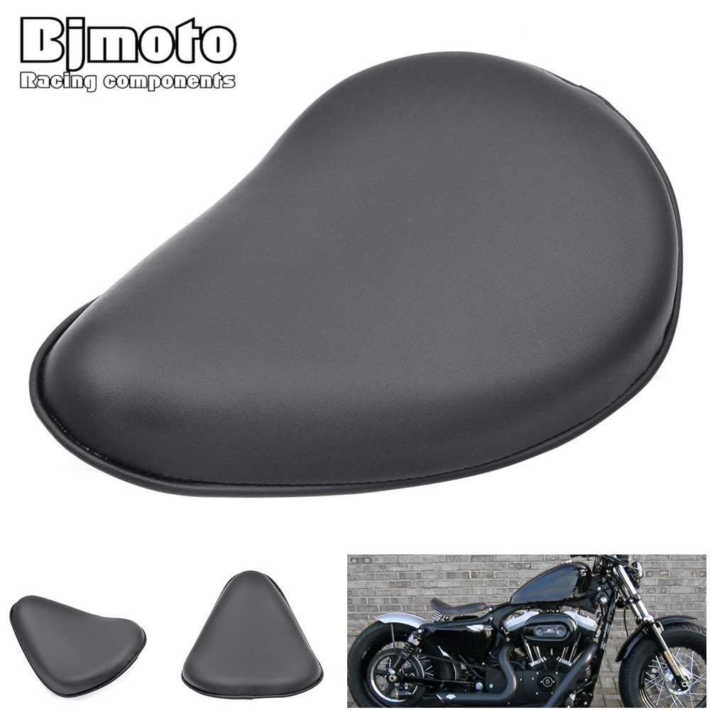 Bjmoto Free Shipping Motorcycle Black Leather Driver Solo Slim Seat Pad Flame Saddle For Harley Sportster Bobber Chopper Custom