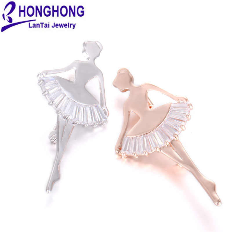HONGHONG 2017 キュービックジルコニアピンとブローチ女性のオフィスキャリアバッジブローチ美少女フィギュアファッションジュエリー