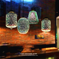 3D dining room lamp creative design stained glass bar chandelier retro cafe bar clothing store chandelier