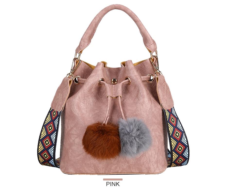 9e54d98535 Colorful Strap Fur Ball Tassel Bucket Bag String Handbag Women PU ...