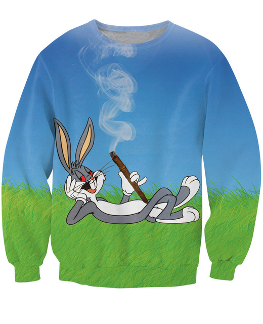Women Men 3d Budz Bunny Crewneck Sweatshirt Bugs Bunny Cartoon