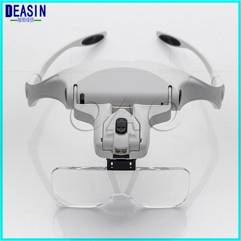 DEASIN Head Magnifying Glass Magnifier With 5 Lens And Led Lights For Reading Jewelry Watch repair Dental 1Set loupes glass new portable 45x magnifier magnifying glass with light detachable reading engraving jewelry glasses loupes