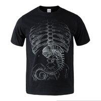 الغريبة مقابل المفترس الجنين السينية القطن الصيف تي شيرت الجسم البشري t-shirt قمزة أعلى أسود