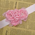 Fashion Burn flower sash belt women belt kids girl sash belt Wedding sash Belt Pink 1pcs