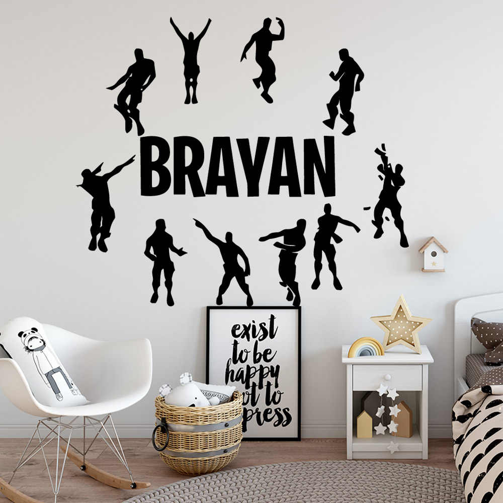 New Custom Name Royale Battle PS4 Wall Decals Diy Gaming Poster Wall Sticker For Kids Room Baby Bedroom muurstickers