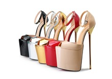 HOT 8.6″ ultra thin metal heel pump extreme high HEEL with platform women shoes peep toe buckle strap open side pump big size