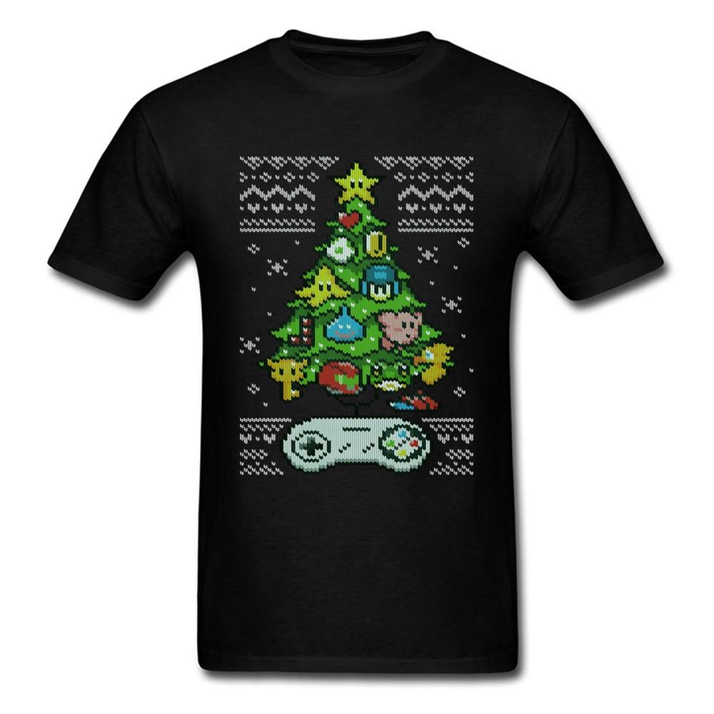 Классические футболки с изображением рождественской елки, забавные хлопковые мужские футболки с круглым вырезом и управлением видеоиграм...