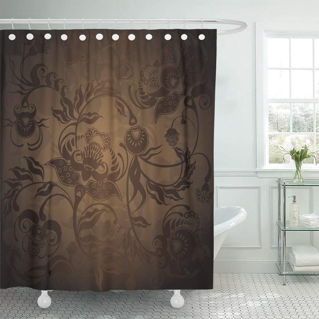 Fabric Shower Curtain Hooks Brown Gold Floral Design Dark