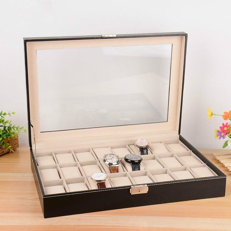 24 montre compteur affichage boîte de rangement en cuir pu montre flip boîte à bijoux tiroir organisateur (sans montre) ZP0114956