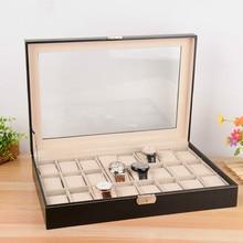 24 ساعة عداد عرض صندوق تخزين بو الجلود ساعة الوجه صندوق مجوهرات درج المنظم (بدون ساعة) zp01149 56