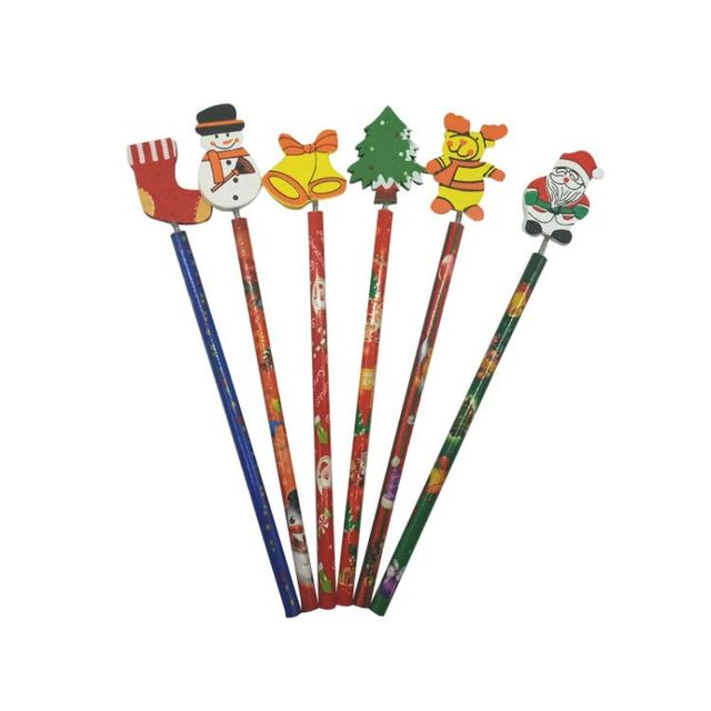 6 PCS/lot New Christmas Wooden Pencils Novelty Cartoon Stationery Wood Pencils  Office school pencils Merry Christmas Gifts 3