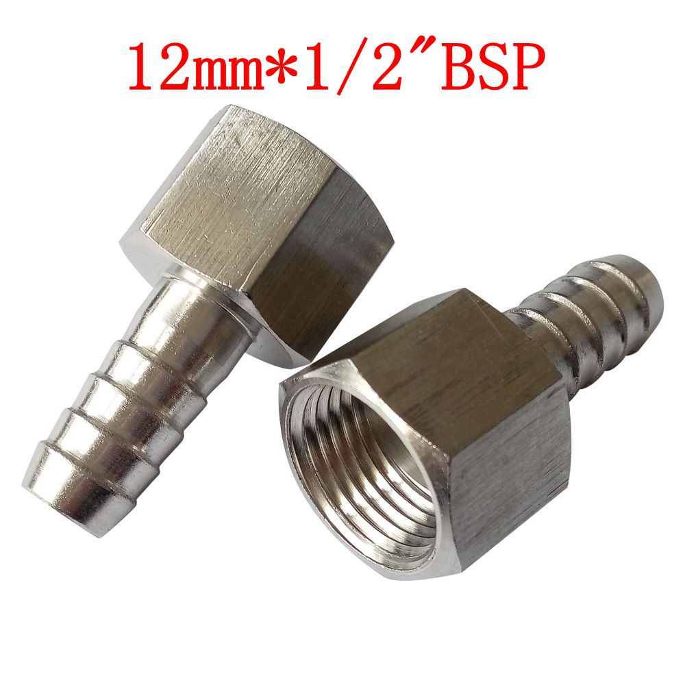 """Pack Of 2 Material Bar 12 Mm ID Hose Barb Tail To 1/2"""" BSP"""