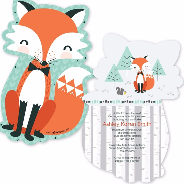 12pcs Mr Miss Foxy Fox Party Invitations Personalized Decorations For Baby Showers Invitation