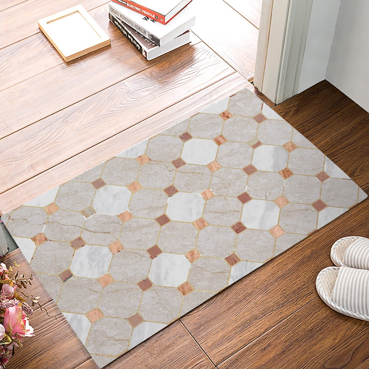 Rug Entrance Moroccan Marble Geometric Pattern Bathroom
