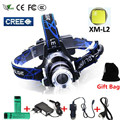 Led Headlight  Headlight CREE XML T6 XM-L L2 Head lamp Zoom Waterproof 18650 Rechargeable Battery Camping Led Head Light Hunting