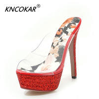 KNCOKAR Sexy Women slippers Peep Toe High Heels Shoes Female Pvc Transparent Platform Footwear Party Wedding Shoes Woman 35 43