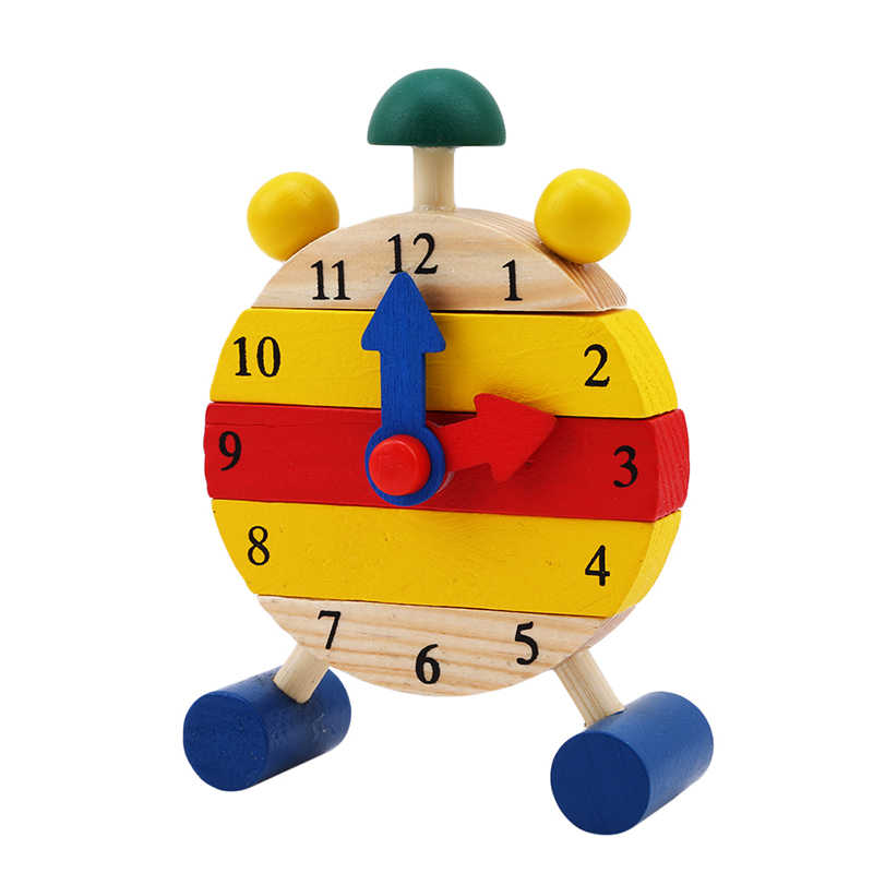 Tiempo de aprendizaje educación mini reloj rompecabezas Montessori rompecabezas de madera juguetes para niños Juego educativo Digital