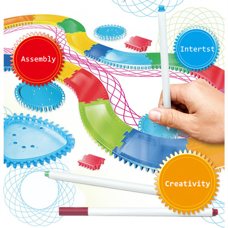 Kids Spirograph Drawing Toy Set Designs Painting Learning Educational Toys For Children Spiral Rail Frame Drawing Toy 28PCS