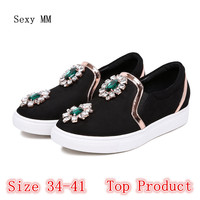 Genuine Leather Flats Women Loafers Woman Slip On Shoes Casual Skate Walking Flat Shoes Plus Size