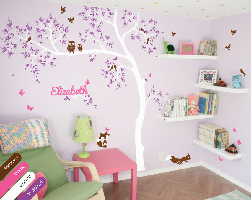 Personalized Baby Name White Tree Wall Decals With Birds Owls Fox Squirrel Wall Tattoo Large Tree