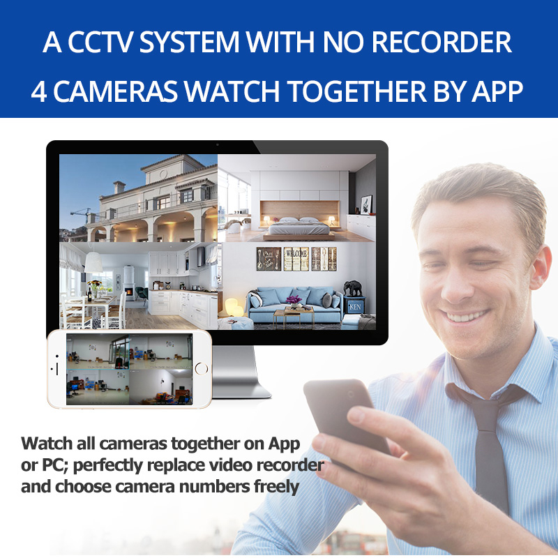 Image 2 - 4MP Kit Wireless Security Camera System IP Camera Wifi SD Card Outdoor 4CH Audio CCTV System Video Surveillance Kit Camara-in Surveillance System from Security & Protection