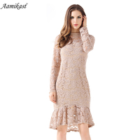 Aamikast Womens Elegant Sexy Lace See Through Tunic Casual Club Bridesmaid Mother of Bride Dress Skater Mermaid Party Dress