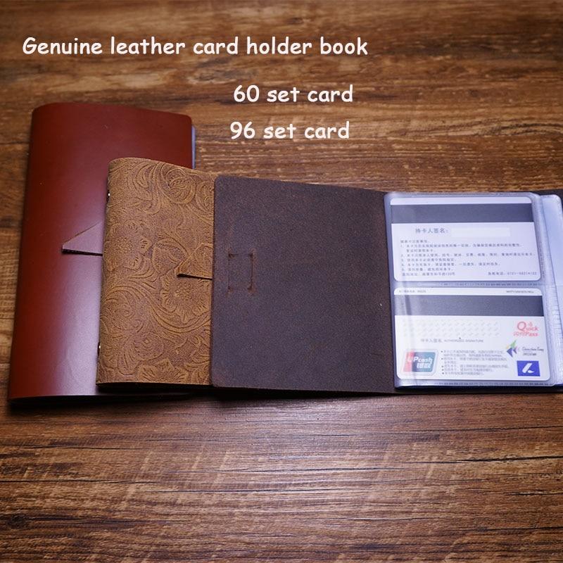 Handmade card holder case business genuine leather 96 card holder case free engrave name on leather package cried card case genuine leather cover pure handmade card