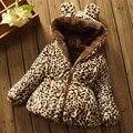 Venta caliente de los niños, además de terciopelo engrosamiento wadded chaqueta 1-4Yyears chiddler chaqueta de algodón acolchado estampado de leopardo Outwear y Abrigos