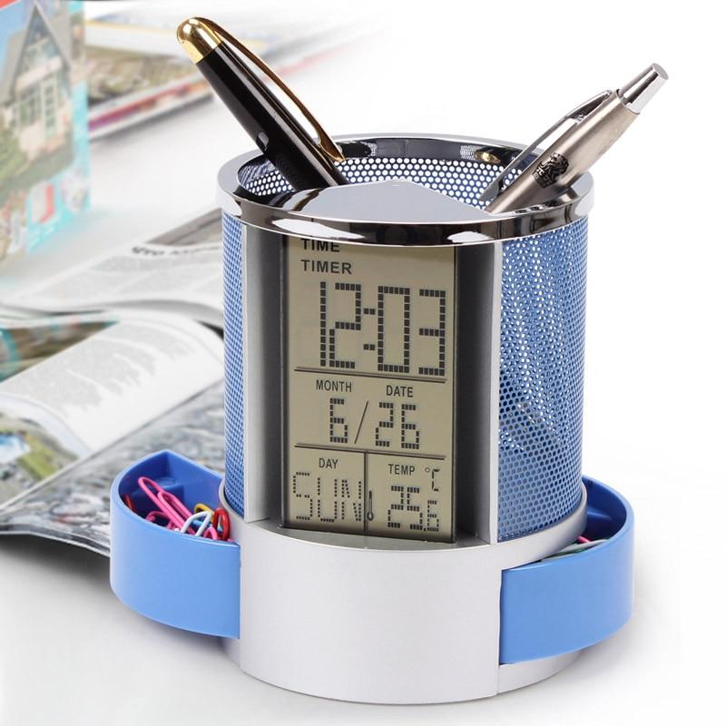 Calendar Pencil-Holder Alarm-Clock Mesh Office-Supplies Home-Desk Metal Digital For WXV