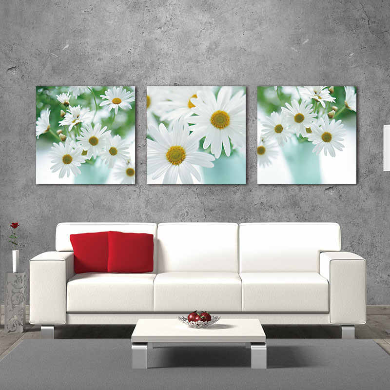 Floral Still Life Of White African Daisy Flower Daisy 3 Pieces Panel Paintings Modern Artwork Painting Wall Art Pictures