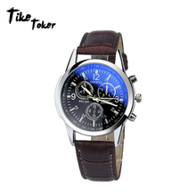 TIke Toker 2018 Luxury Fashion Faux Leather Mens Analog Watches Men's Watch Male Quartz Clock Military Relojes Business Watch