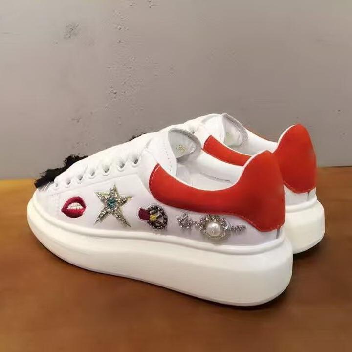 Sterne Schuhe Casual Frau Lippen Muster Wohnungen Plattform Zapatos Perle Pic As Weiß Gestickte Turnschuhe Hombre Leder as Pic qx4FCnWIwf