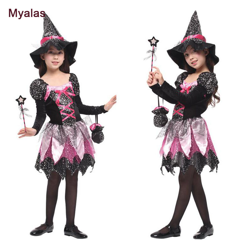 Children's Magic Witch Clothes Puff Skirt Christmas Party Halloween Costume for Girls Cosplay Costume Christmas Carnaval Costume