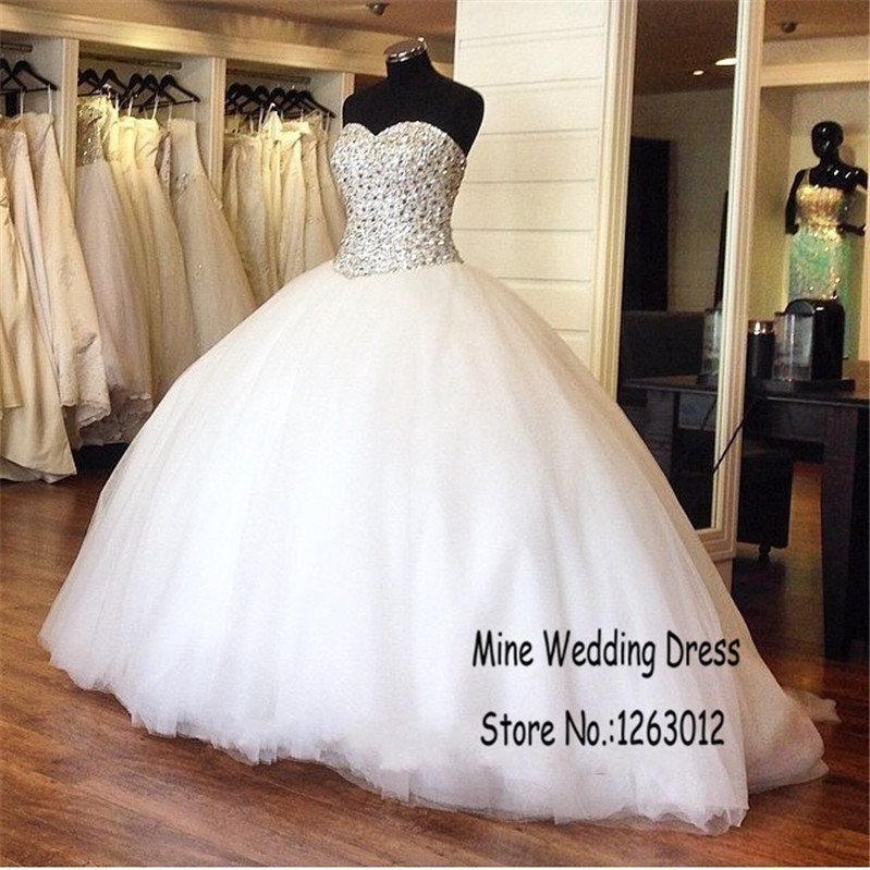 Silver rhinestones sparkling beading white ball gown shiny for Silver ball gown wedding dresses